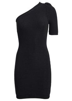 Cushnie Rib Knit One-Shoulder Dress