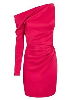 Cushnie Satin One-Sleeve Mini Dress