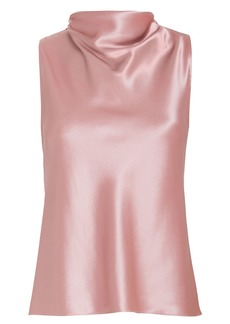 Cushnie Silk High Neck Draped Blouse