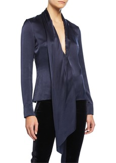 Cushnie Silk Long-Sleeve V-Neck Blouse