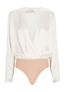 Cushnie Silk Wrap Blouse Bodysuit