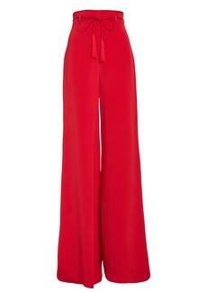 Cushnie Tie Waist Wide Leg Silk Pants