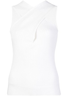 Cushnie twisted-neck ribbed top