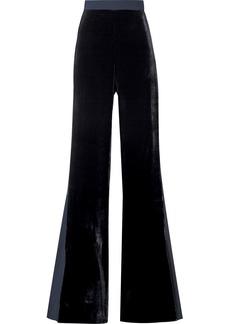 Cushnie Velvet And Crepe De Chine Flared Pants