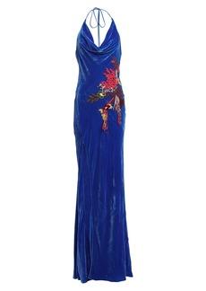 Cushnie Velvet Draped Ikebana Gown