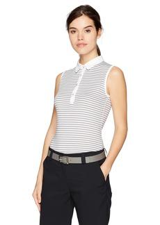 Cutter & Buck Annika by Women's Moisture Wicking Drytec 50+ UPF Sleeveless Stripe Polo Shirt