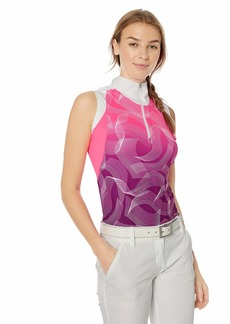 Cutter & Buck Annika Women's Moisture Wicking Drytec UPF 50+ Sleeveless Print Mock Shirt