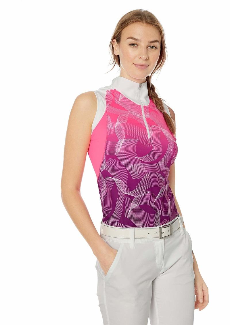 Cutter & Buck Annika Women's Moisture Wicking Drytec UPF 50+ Sleeveless Print Mock Shirt