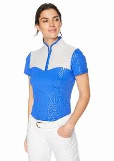 Cutter & Buck Annika Women's Moisture Wicking UPF 50+ Colorblock Short Sleeve Mock Shirt