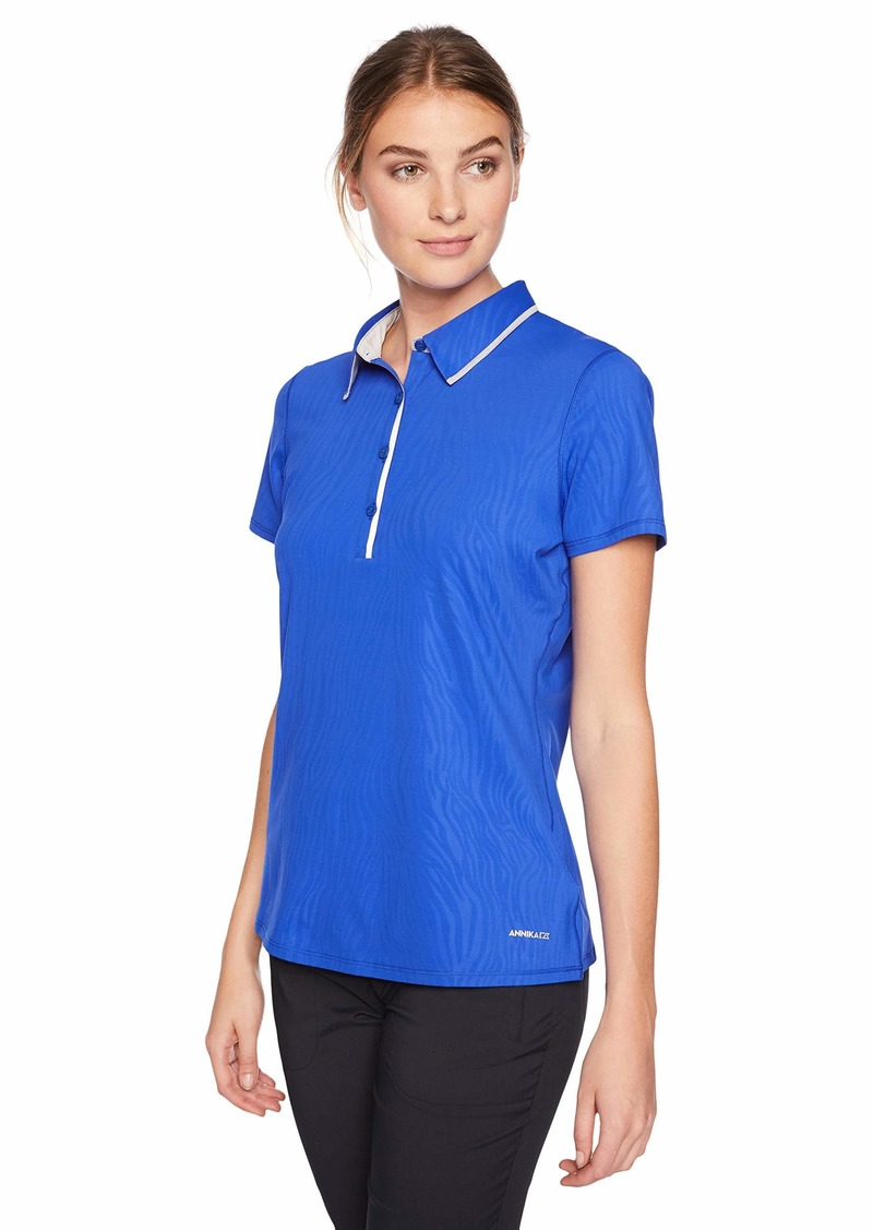 Cutter & Buck Annika Women's Moisture Wicking UPF 50+ Emboss Short Sleeve Polo Shirt