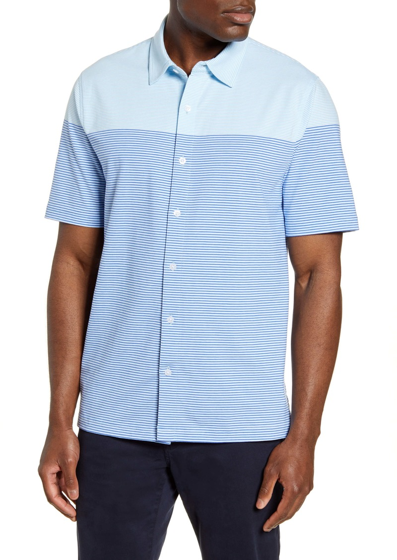 Cutter & Buck Classic Fit Stripe Short Sleeve Button-Up Sport Shirt