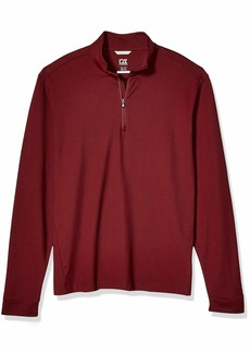 Cutter & Buck Men's Drytec UPF 35+ Cotton Advantage Mock Neck Half Zip Shirt
