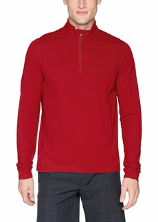 Cutter & Buck Men's Drytec UPF 35+ Cotton Advantage Mock Neck Half Zip Shirt Cardinal red