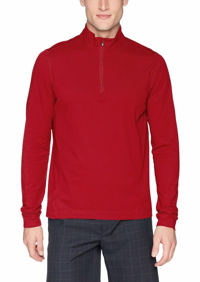 Cutter & Buck Men's Drytec UPF 35+ Cotton Advantage Mock Neck Half Zip Shirt Cardinal red