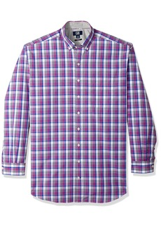 Cutter & Buck Men's Large Plaid Easy Care Button Down Short Sleeve Shirts Magnetic Zachary 4X Big