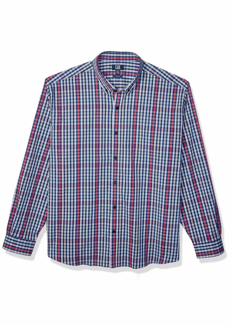 Cutter & Buck Men's Long Sleeve Anchor Double Check Plaid Button Up Shirt  L