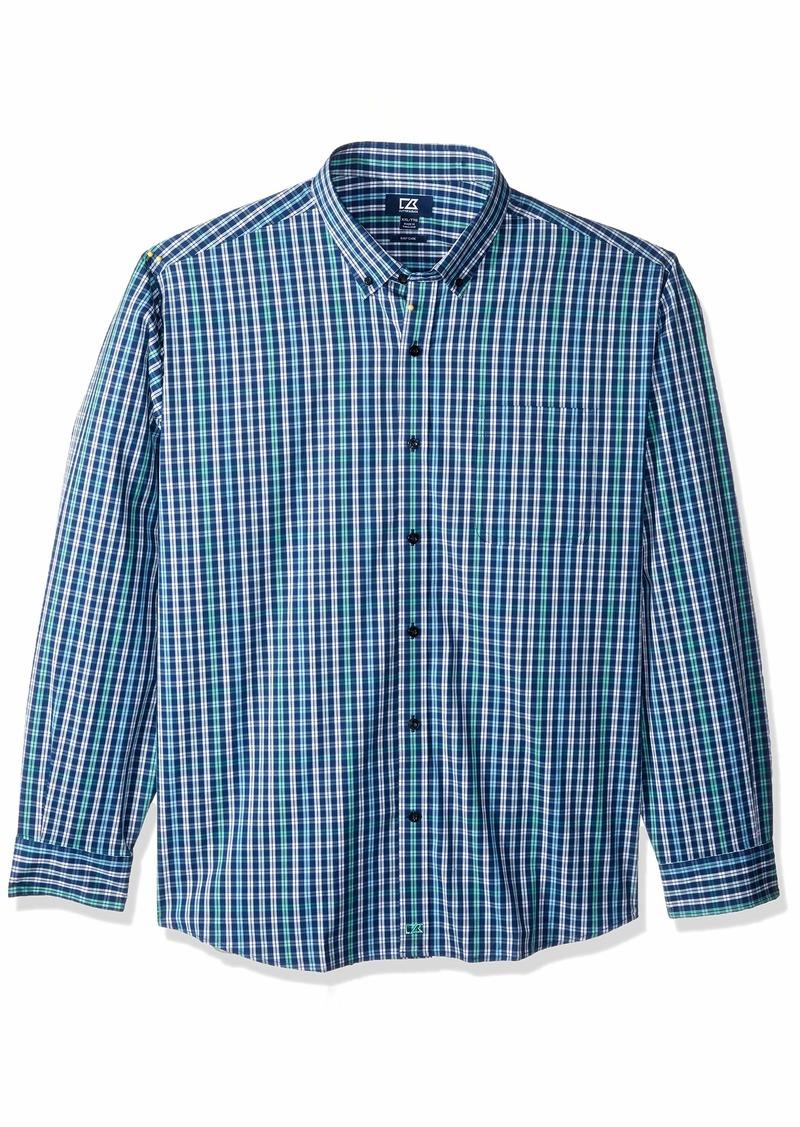 Cutter & Buck Men's Long Sleeve Anchor Double Check Plaid Button Up Shirt  S