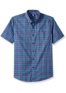Cutter & Buck Men's Medium Plaid Easy Care Button Down Short Sleeve Shirts  1X Big