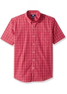 Cutter & Buck Men's Medium Plaid Easy Care Button Down Short Sleeve Shirts Virtual Leo