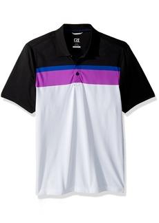 Cutter & Buck Men's Moisture Wicking Drytec Hugh Stripe Jersey Polo Shirt