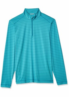 Cutter & Buck Men's Moisture Wicking Drytec UPF 50+ Stripe Half Zip Pullover Holman Aquatic Heather