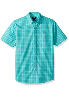 Cutter & Buck Men's  Plaid Easy Care Button Down Short Sleeve Shirts Newport Leo