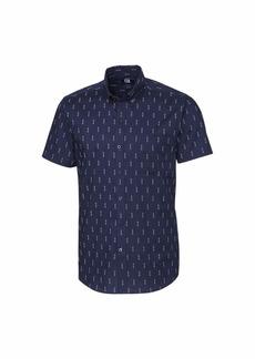 Cutter & Buck Men's Short Sleeve Strive Keyhole Print Button Up Shirt  M