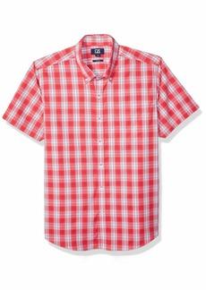 Cutter & Buck Men's Short Sleeve Strive Shadow Plaid Button Up Shirt  L