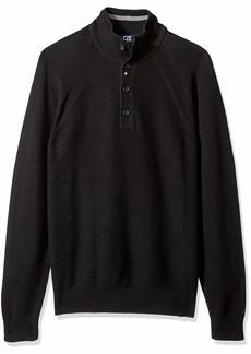 Cutter & Buck Men's Textured Cotton-Rich Classic Button Mock Neck Reuben Sweater