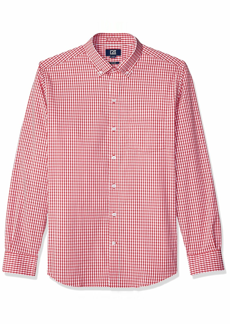 Cutter & Buck Men's Wrinkle Resistant Stretch Long Sleeve Button Down Shirt Cardinal red Gingham
