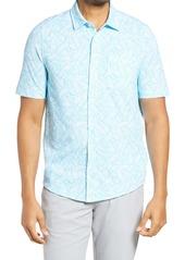 Cutter & Buck Reach Regular Fit Stretch Print Short Sleeve Button Down Shirt