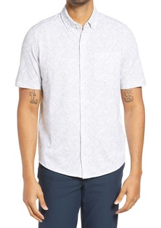Cutter & Buck Reach Regular Fit Stretch Print Short Sleeve Button Down Shirt