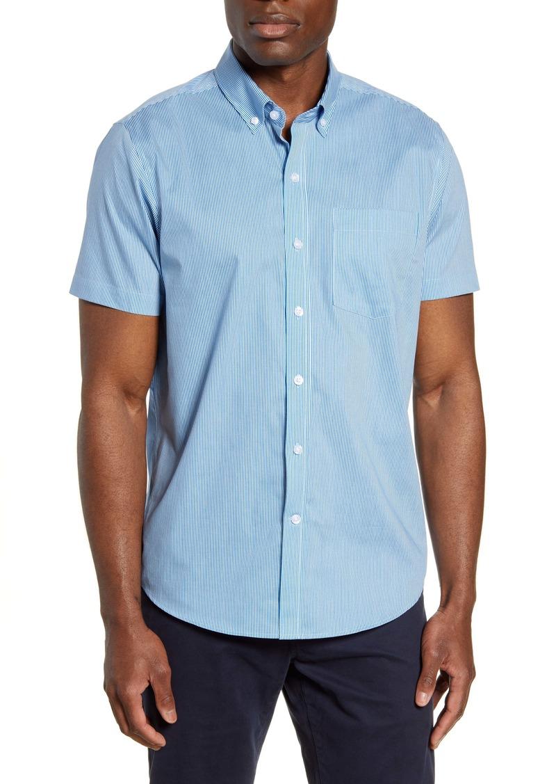 Cutter & Buck Strive Classic Fit Stripe Short Sleeve Button-Down Sport Shirt