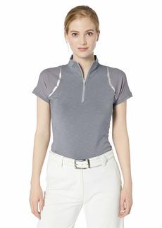 Cutter & Buck Women's Drytec UPF 50+ Short Sleeve Elite Contour Mock Jersey Shirt zinc