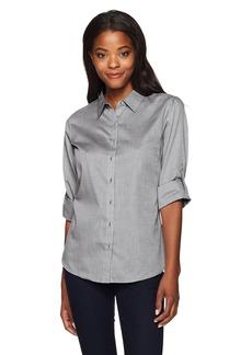 Cutter & Buck Women's Epic Easy Care Long Sleeve Mini Herringbone Collared Shirt  L