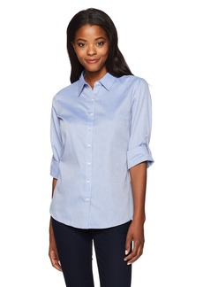 Cutter & Buck Women's Epic Easy Care Long Sleeve Mini Herringbone Collared Shirt  XXXL