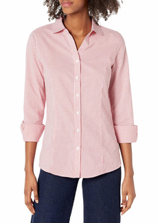 Cutter & Buck Women's Epic Easy Care Long Sleeve Tattersall Collared Shirt red XS