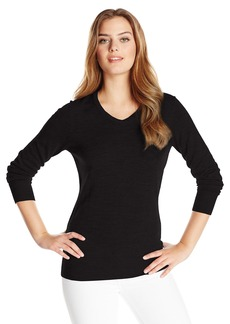 Cutter & Buck Women's Soft Merino Blend Douglas Long Sleeve V-neck Sweater black XXL