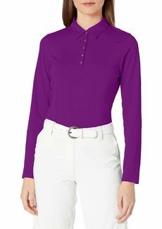 Cutter & Buck Women's Moisture Wicking 50+ UPF Long-Sleeve Luca Polo Shirt BlackBerry