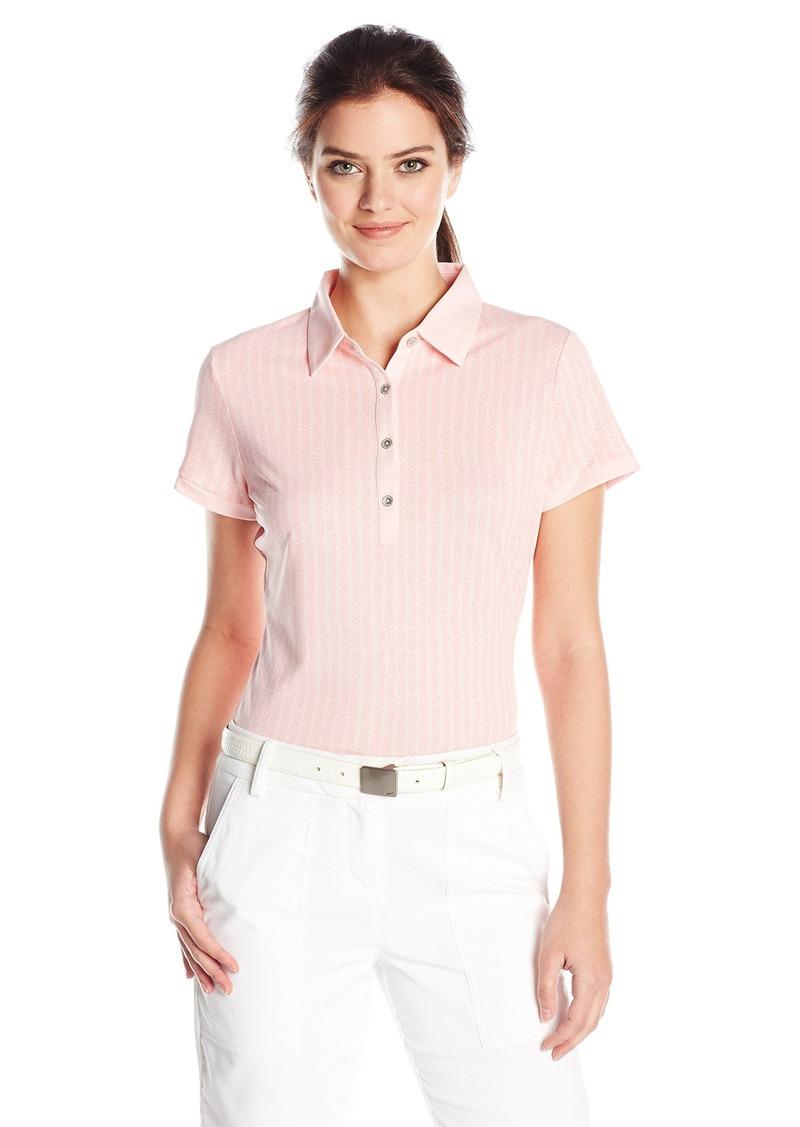 Cutter & Buck Women's Moisture Wicking Cap-Sleeve Leona Printed Polo Shirt  XL