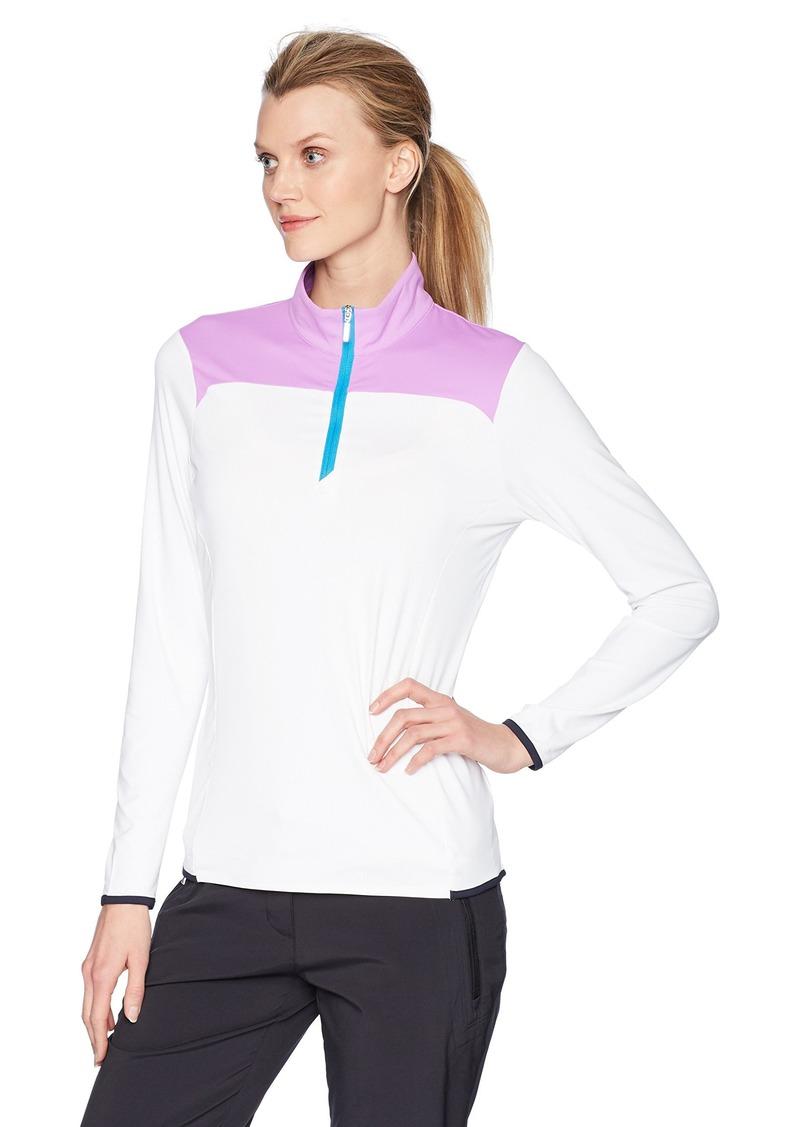 Cutter & Buck Women's Moisture Wicking UPF 50+ Bobby Colorblock Half Zip Pullover  XLarge