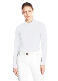 Cutter & Buck Women's Moisture Wicking 50+ UPF Long-Sleeve Luca Polo Shirt  L