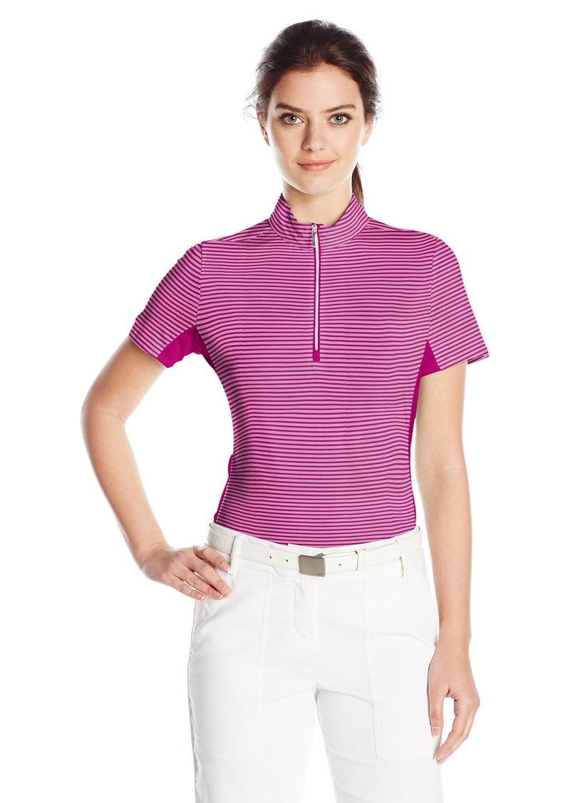 Cutter & Buck Women's Moisture Wicking UPF 50+ Short-Sleeve Striped Kelsey Zip Mock Shirt  XL