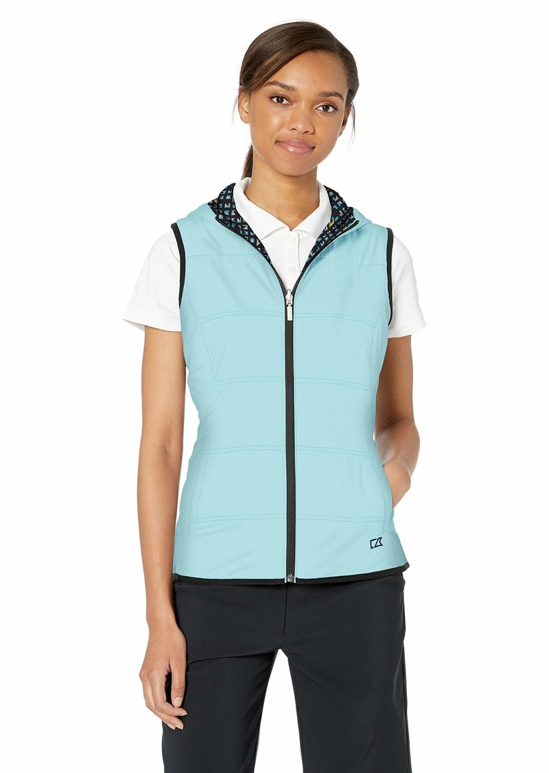 Cutter & Buck Women's Stripe Cora Layerable Reversible Hooded Vest with Pockets  XXLarge