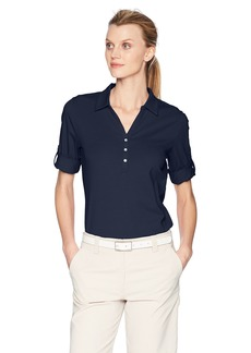 Cutter & Buck Women's Tri-Blend Stretch Jersey Elbow Sleeve Thrive Polo Shirt