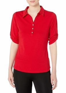 Cutter & Buck Women's Tri-Blend Stretch Jersey Elbow Sleeve Thrive Polo Shirt red