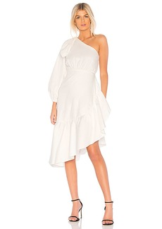 Cynthia Rowley Aleeza One Shoulder Tie Sleeve Dress