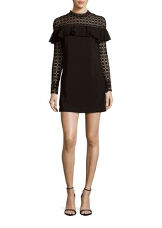 Cynthia Rowley Crewneck Long-Sleeve Ruffled Dress
