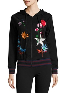 Cynthia Rowley Embroidered Bomber Hoodie