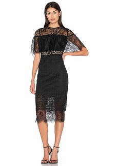 Cynthia Rowley Fitted Midi Dress in Black. - size 0 (also in 2,4)